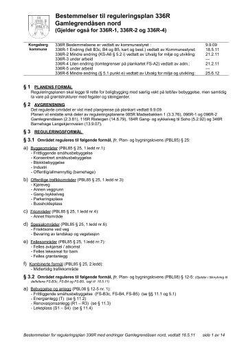 Reviderte reguleringsbestemmelser - Kongsberg Kommune
