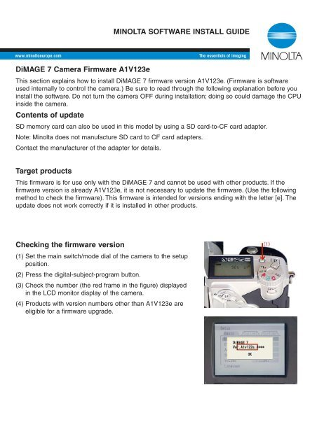 DiMAGE 7 Camera Firmware A1V123e Contents of update Target