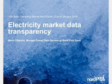 Electricity market data transparency - Konkurentsiamet