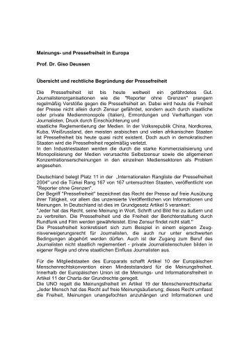 Meinungs- und Pressefreiheit in Europa Prof. Dr. Giso Deussen ...