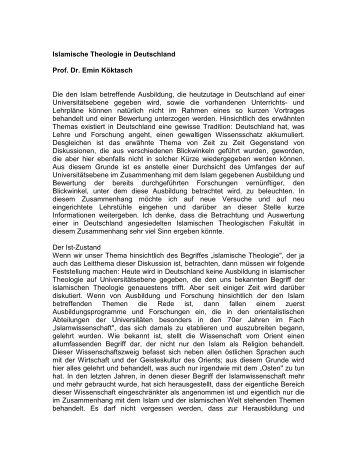 Islamische Theologie in Deutschland Prof. Dr. Emin Köktasch Die ...