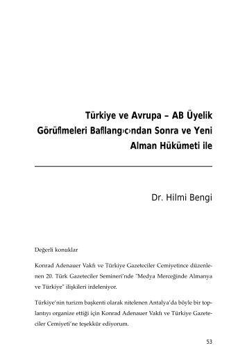 Türkiye ve Avrupa - konrad adenauer vakfı