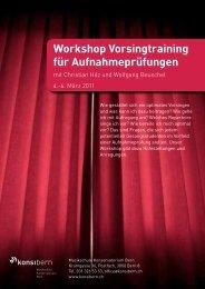Workshop Vorsingtraining für Aufnahmeprüfungen - Musikschule ...
