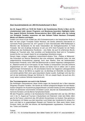 Geht an die Medienschaffenden - Musikschule Konservatorium Bern