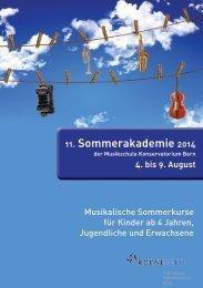 11. Sommerakademie 2014 - Musikschule Konservatorium Bern