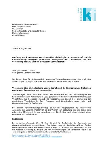 Anhörung zur Änderung der Verordnung über die biologische ...