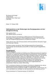 Stellungnahme zu den Änderungen des Energiegesetzes und der ...