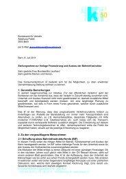 Stellungnahme zur Vorlage Finanzierung und Ausbau der ...
