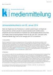 Jahresmedienkonferenz vom 09.01.2014 - Konsumentenforum kf