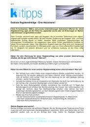 Dubiose Registereinträge - Eine Abzockerei! - Konsumentenforum kf