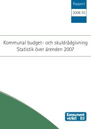 och skuldrådgivning Statistik över ärenden 2007 - Konsumentverket