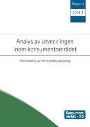 Analys av utvecklingen inom konsumentområdet ... - Konsumentverket