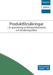 Produktförsäkringar - En granskning av ... - Konsumentverket
