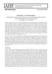 AHF-Information - Arbeitsgemeinschaft außeruniversitärer historischer