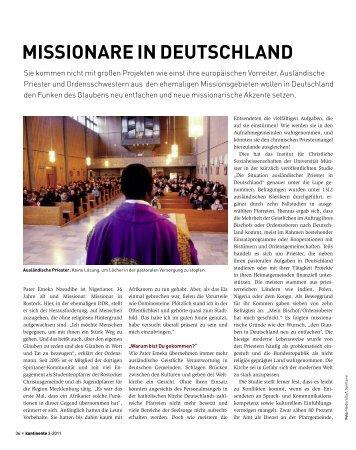MISSIONARE IN DEUTSCHLAND - Kontinente
