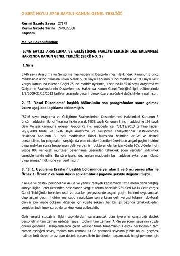 2 Seri Nolu 5746 Sayl Kanun Genel Teblii
