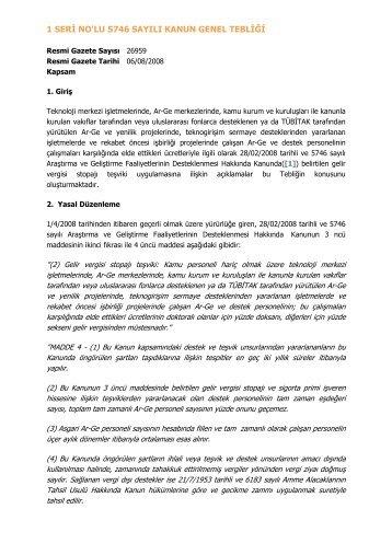 1 Seri Nolu 5746 Sayl Kanun Genel Teblii