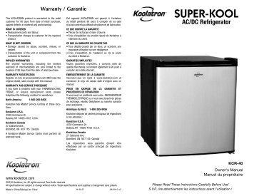 Warranty / Garantie - Koolatron