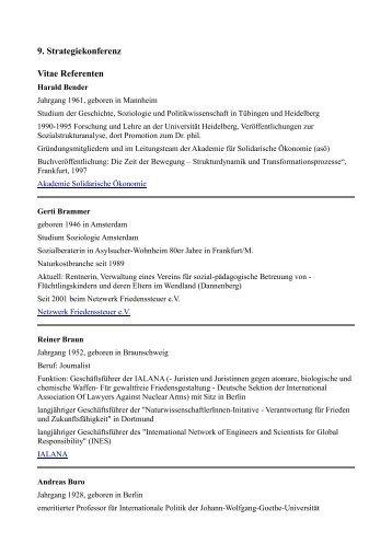 9. Strategiekonferenz Vitae Referenten - Kooperation für den Frieden