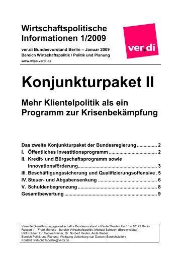 Wirtschaftspolitische Informationen 1/2009 - Kooperationsstelle ...