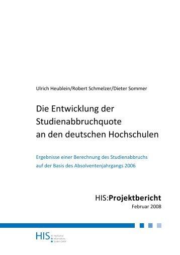 Die Entwicklung der Studienabbruchquote an den deutschen ...