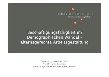 Prof. Dr. Frauke Koppelin, Jade Hochschule Oldenburg