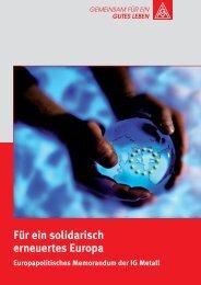 Europapolitisches Memorandum der IG Metall
