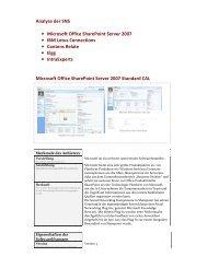 Analyse der SNS • Microsoft Office SharePoint Server 2007 • IBM ...