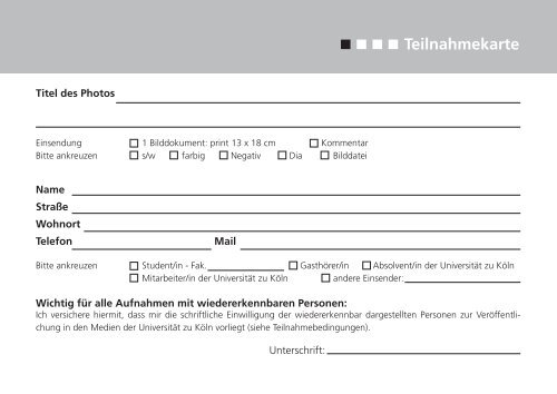Teilnahmekarte - koost - Universität zu Köln