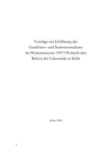 Vorträge zur Eröffnung des Gasthörer– und Seniorenstudiums im ...