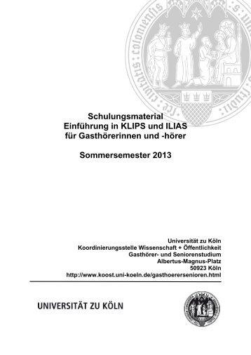 Skript zum KLIPS + ILIAS-Einführungskurs - koost - Universität zu Köln