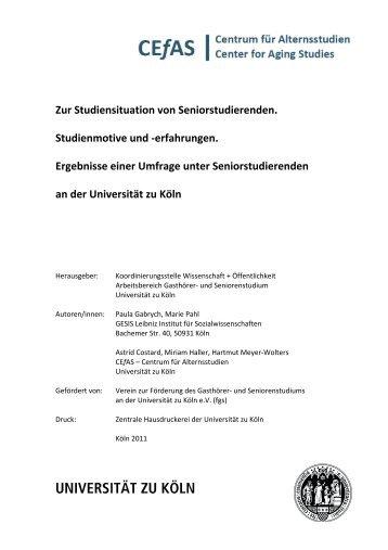 Zur Studiensituation von Seniorstudierenden. Studienmotive und ...