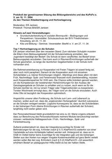 Protokoll der gemeinsamen Sitzung des Bildungsbereichs ... - kopofo