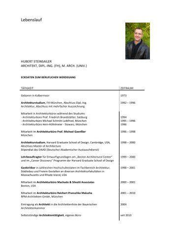 lebenslauf als pdf mit ausfhrlicher projektliste korbinianspark - Wolfgang Schuble Lebenslauf