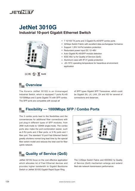 Industrial 10-port Gigabit Ethernet Switch JetNet 3010G