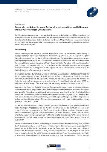 Potenziale von Netzwerken zum Austausch arbeitsmarktlicher und ...