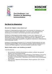 Zum Kaufmann / zur Kauffrau für Marketing- kommunikation - Kosche