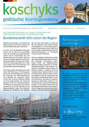 Koschyks politische Korrespondenz Ausgabe Dezember 2010