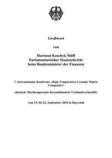 Zum Grußwort von Herrn Parl. Staatssekretär Hartmut Koschyk