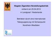 Illegaler Zigaretten-Herstellungsbetrieb enttarnt am 25.04.2013 in ...
