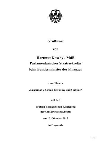 Zum Grußwort von Finanzstaatssekretär Koschyk gelangen Sie hier.