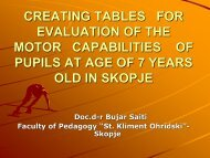 creating tables for evaluation of the motor capabilities of pupils at ...