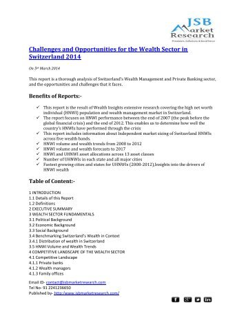 Challenges and Opportunities for the Wealth Sector in Switzerland 2014