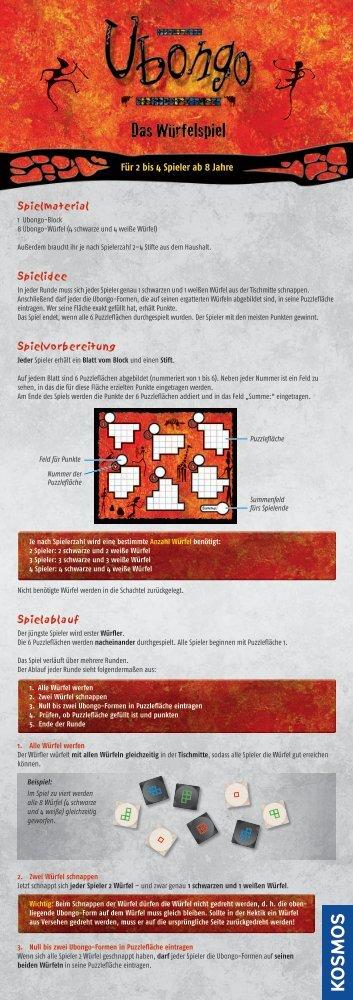 Anleitung: Ubongo Das Würfelspiel - Kosmos