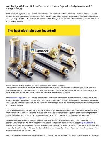Nachhaltige (Gelenk-) Bolzen Reparatur mit dem Expander ® System schnell & einfach vor Ort