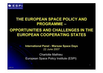 THE EUROPEAN SPACE POLICY AND PROGRAMME ...