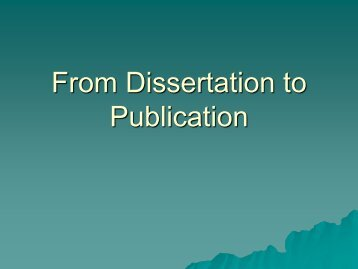 From Dissertation to Publication - Kosmos