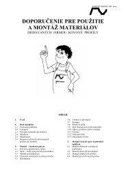 doporučenie pre použitie a montáž materiálov - Kovové profily, spol ...