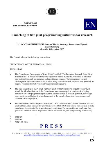 EN Launching of five joint programming initiatives for ... - Europa