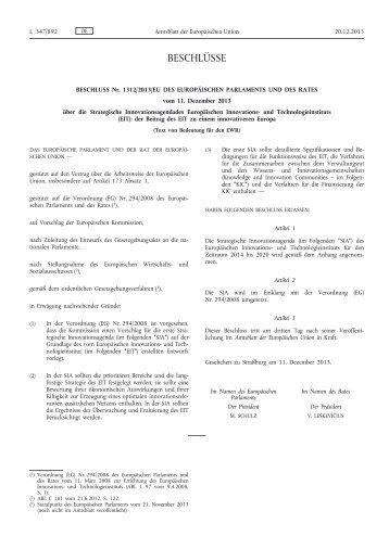 Beschluss Nr. 1312/2013/EU des Europäischen ... - EUR-Lex